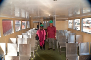 President Momis and Lady Elizabeth inspecting sitting area of MV Rapoise Chief